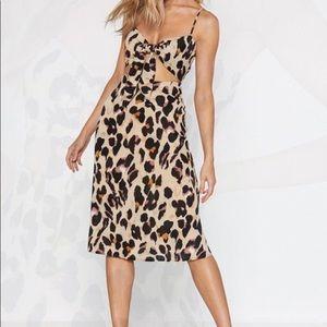 Leopard tie dress